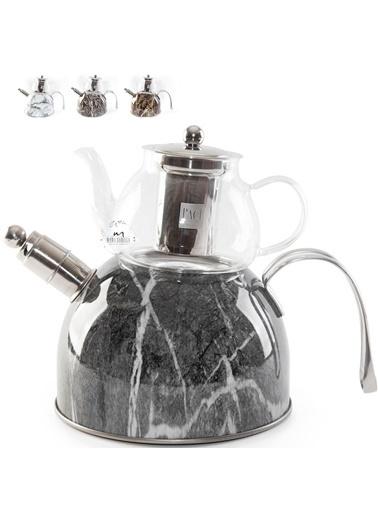 Paçi pac-mermercaycı Paçi Düdüklü Çaydanlık Mermer Desenli Cam  3,6 Litre Paslanmaz Çelik Gri